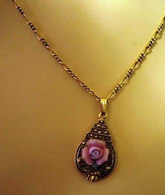 Vintage Porcelain Rose Filigree Necklace