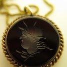 Etched Black Pendant Necklace Gold Chain