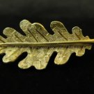 Vintage Brushed Gold Tone Leaf Pin Brooch