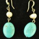 Vintage Turquoise Pearl Drop Earrings