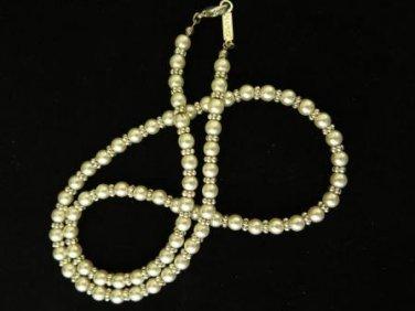 Vintage Napier Pearl Silver Bead Necklace
