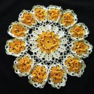 Orange Blossom Crochet Doily Handcrafted New