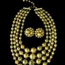 Stunning Gold on Gold Beaded Necklace Earrings Clip On Japan