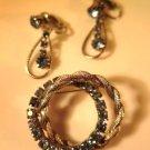 Vintage Blue Rhinestone Brooch Earrings Clip On