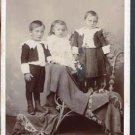 Antique Cabinet Card Photograph Three Children