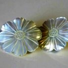 Daisy Mother of Pearl Sea Shell Earrings 1980