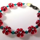 Red Flower Bracelet Handcrafted