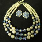 Vintage Pearl and Aurora Borealis Necklace Earring Set