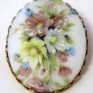 Corocraft Oval Porcelain Floral Brooch