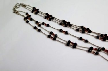 Black and Copper on Silver Tone Necklace 3 strand