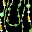 Green and Amber Bead Necklace Set