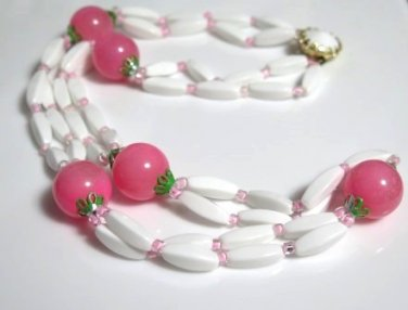 Pink Bubble Gum and White Beaded Necklace