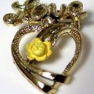 Love Brooch Yellow Rose Cubic Zirconia 1970