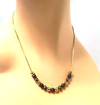 Three Tone Gold Bead Necklace 1980