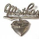 Vintage Mother Heart Locket Brooch 1970