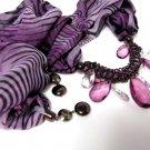 Purple Zebra Print Scarf Necklace