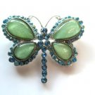 Blue Rhinestone and Green Butterfly Pin Brooch