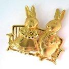 JJ  Jonette Jewelry Gold Tone Pewter Pin Bunny