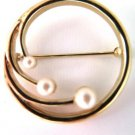 Monet Classic Faux Pearl Circle Pin Gold Tone