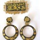 Vintage Damascene Brooch Clip On Earring Set