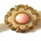 Pink Glass and Seed Pearl Brooch Earring Set