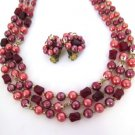 Japan Red Bead 3 Strand Necklace Earring Set