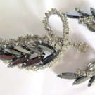 Vintage Rhinestone and Black Faceted Glass Brooch Earring Set