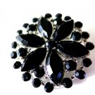 Black Bead Flower Brooch Pin