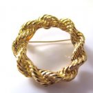 Vintage Twisted Rope Wreath Gold Tone Brooch Pin
