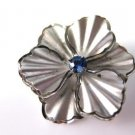 Vintage Brushed Silver Tone Flower Pin Brooch
