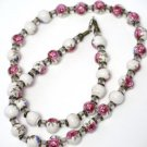 Ceramic Rose Bead Necklace