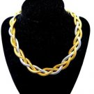 Bold Gold and Silver Braided Necklace