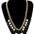 Chunky Black Faux Pearl Bead Necklace Gold Tone