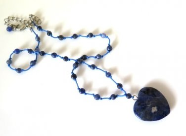Avon Blue Heart Marbled Stone Necklace
