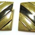 Bold Olive Cream Enamel Pierced Earrings