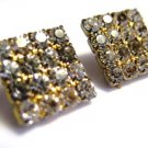 Vintage Rhinestone Earrings Square Pierced