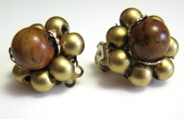 Vintage Japan Gold and Wood Bead Cluster Earrings