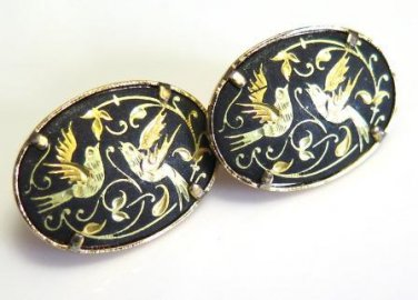Damascene Pierced Earrings Vintage