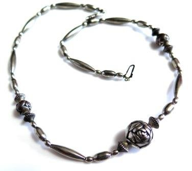 Vintage Silver Rose Bead Necklace