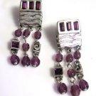 Amethyst and Silver Tone Bead Drop Earrings Pierced