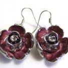 Enameled Rose Pierced Earrings French Wire