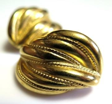 Vintage Trifari Gold Tone Earrings Clip On Signed