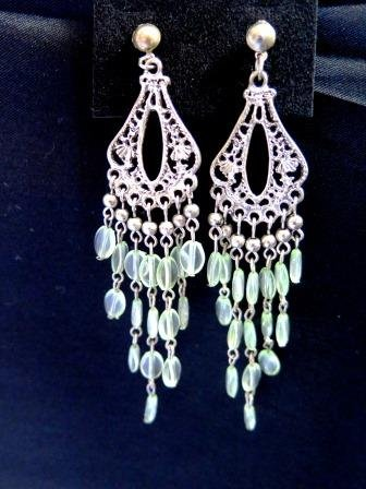 Silver Tone Chandelier Earrings Grey Beads