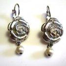 1928 Flower Earrings Drop Pearl