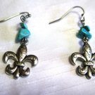 Fleur de Lis Earrings with Turquoise Chips