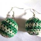 Crochet Ball Earring French Wire Green