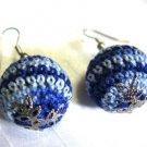 Crochet Ball Earring French Wire Blue