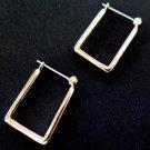 Gold Tone Square Earrings Self Close