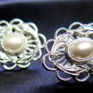 Silver Tone Filigree Fashion Earrings Post