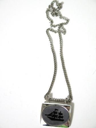 Vintage Enamel Ship Pendant Necklace